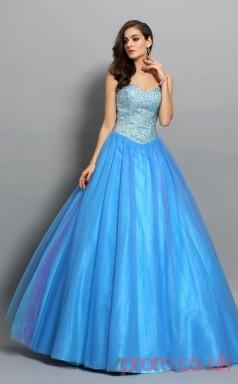 Dodger Blue Organza Sweetheart Floor-length Princess Quincenera Dress(JT2047)