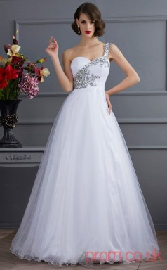 White Organza One Shoulder Floor-length A-line Quincenera Dress(JT2053)
