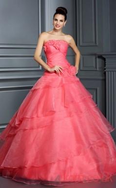 Watermelon Organza Strapless Floor-length Princess Quincenera Dress(JT2077)