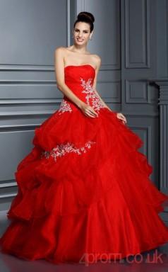 Red Organza Sweetheart Floor-length Ball Gown Quincenera Dress(JT2080)