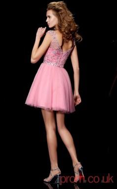 Pink Tulle Satin A-line Short Bateau Graduation Dress(JT2088)