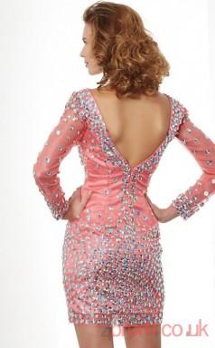 Pink Tulle Sheath Short V-neck Long Sleeve  Graduation Dress(JT2094)