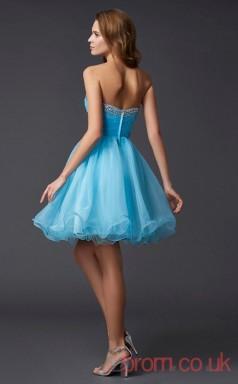 Deep Sky Blue Organza Sheath Short Strapless Graduation Dress(JT2096)