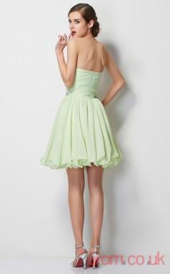 Light Sage Chiffon A-line Short Strapless Graduation Dress(JT2098)
