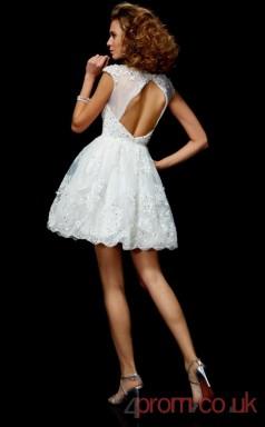 White Lace A-line Short Scalloped Short Sleeve  Graduation Dress(JT2102)