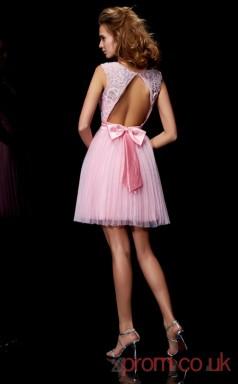 Candy Pink Tulle A-line Short Scalloped Graduation Dress(JT2104)