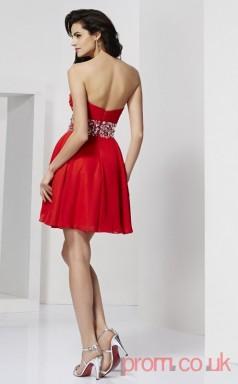Red 30D Chiffon A-line Short Sweetheart Graduation Dress(JT2111)