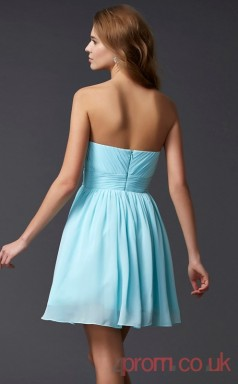 Sky Blue Chiffon A-line Short Sweetheart Graduation Dress(JT2112)