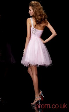 Blushing Pink Tulle A-line Short One Shoulder Graduation Dress(JT2115)