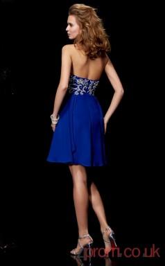 Light Royal Blue Chiffon A-line Short Halter Graduation Dress(JT2117)