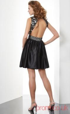 Black Lace Taffeta A-line Short High Neck Graduation Dress(JT2120)