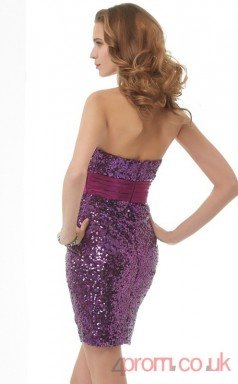 Purple Sequined Sheath Short Strapless Graduation Dress(JT2125)