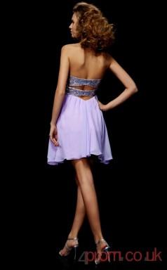Lilac Chiffon Sequined A-line Short Sweetheart Graduation Dress(JT2127)