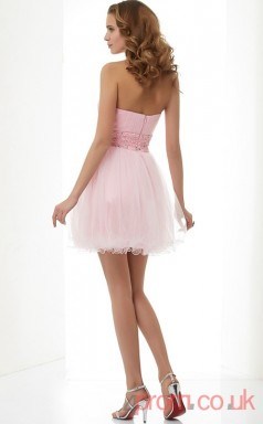 Blushing Pink Tulle A-line Short Strapless Graduation Dress(JT2130)