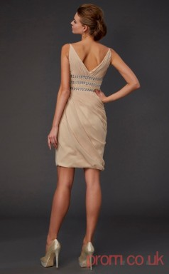 Champagne Chiffon Sheath Short V-neck Graduation Dress(JT2131)