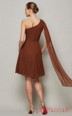 Chocolate Chiffon A-line Short One Shoulder Graduation Dress(JT2135)