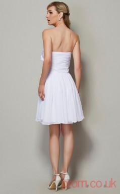 White Chiffon A-line Short Strapless Graduation Dress(JT2139)