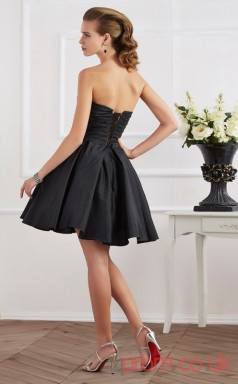 Black Taffeta A-line Short Sweetheart Graduation Dress(JT2144)
