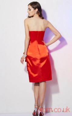Firebrick Charmeuse Sheath Short Strapless Graduation Dress(JT2148)
