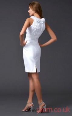 White Taffeta Sheath Short Halter Graduation Dress(JT2152)