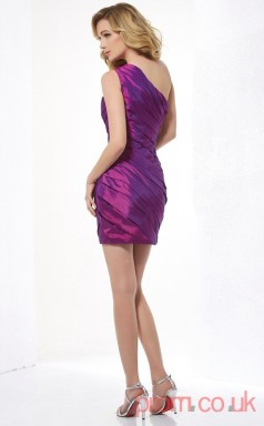 Blue Violet Taffeta Sheath Short One Shoulder Graduation Dress(JT2153)