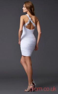 White Chiffon Sheath Short One Shoulder Graduation Dress(JT2165)