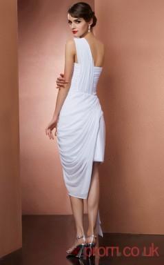 White Chiffon Sheath Short One Shoulder Graduation Dress(JT2170)
