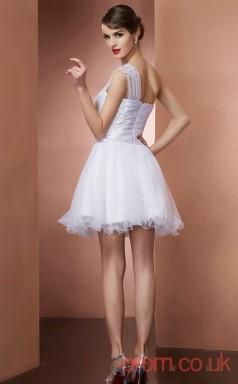 White Stretch Satin Tulle A-line Short One Shoulder Graduation Dress(JT2172)