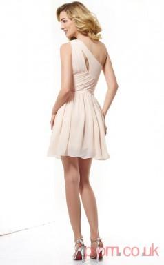 Blushing Pink Chiffon A-line Short One Shoulder Graduation Dress(JT2173)