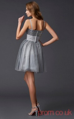 Silver Sequined Tulle A-line Short Straps Sweetheart Graduation Dress(JT2177)