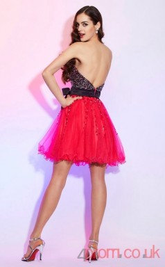 Fuchisa Sequined Tulle A-line Short Sweetheart Graduation Dress(JT2181)