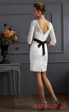 White Lace Sheath Short Bateau 3/4 Length Sleeve Graduation Dress(JT2197)