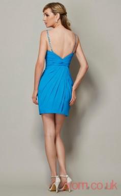 Pool Chiffon Sheath Short Straps Graduation Dress(JT2204)