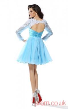 Deep Sky Blue Lace Chiffon A-line Short Scoop Long Sleeve  Graduation Dress(JT2216)