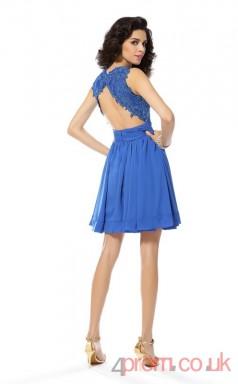 Ocean Blue Chiffon A-line Short Jewel Graduation Dress(JT2217)