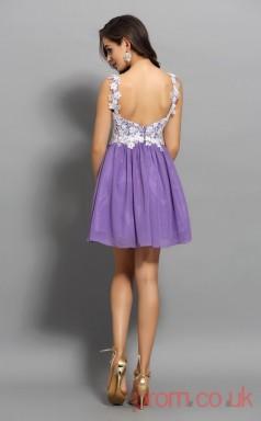 Violet Lace Chiffon A-line Short Sweetheart Graduation Dress(JT2227)
