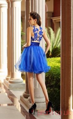 Ocean Blue Tulle Lace A-line Mini Illusion Bateau Graduation Dress(JT2231)