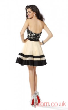 Black Matte Satin Lace A-line Mini Sweetheart Graduation Dress(JT2236)