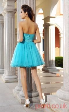 Deep Sky Blue Tulle A-line Mini Sweetheart Graduation Dress(JT2237)