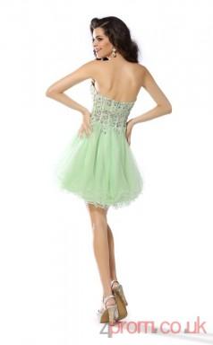 Light Sage Tulle Lace A-line Mini Sweetheart Graduation Dress(JT2239)