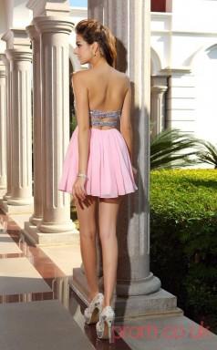Candy Pink Sequined Chiffon A-line Mini Sweetheart Graduation Dress(JT2242)