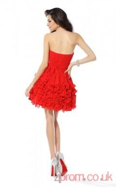 Red Chiffon A-line Mini Sweetheart Graduation Dress(JT2243)