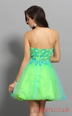 Med Spring Green Tulle A-line Mini Sweetheart Graduation Dress(JT2268)