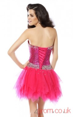 Fuchisa Sequined Tulle A-line Mini Sweetheart Graduation Dress(JT2274)