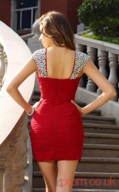 Red Chiffon Sheath Mini Straps Graduation Dress(JT2281)