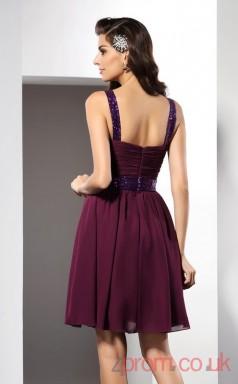 Grape Chiffon A-line Mini Straps Graduation Dress(JT2284)