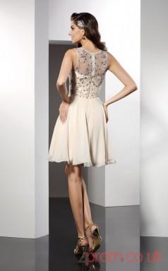 Beige Chiffon A-line Mini Illusion Graduation Dress(JT2286)