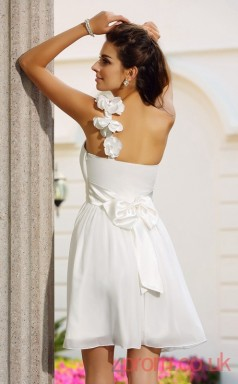 White Chiffon A-line Mini One Shoulder Graduation Dress(JT2288)