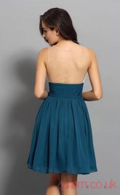 Ink Blue Chiffon Sequined A-line Mini Illusion Graduation Dress(JT2289)