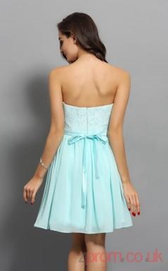 Sky Blue Lace Chiffon A-line Mini Sweetheart Graduation Dress(JT2293)